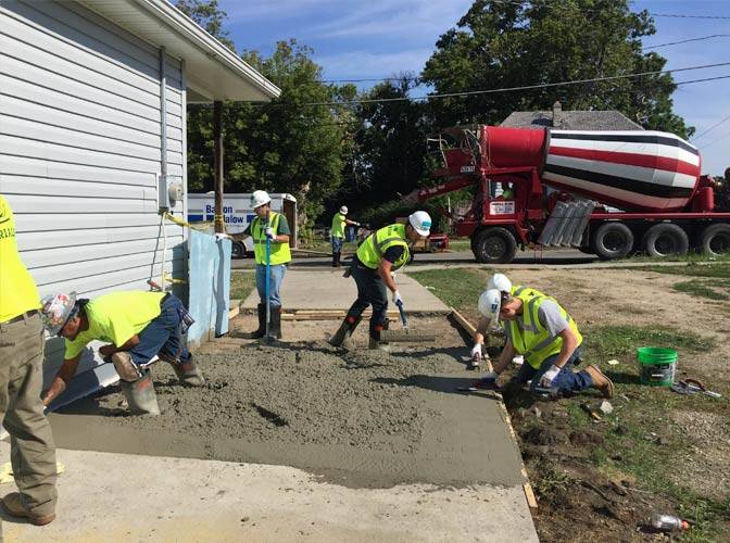Concrete pour for Habitat for Humanity of Oakland County Women Build.